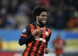 Shakhtar Donetsk's Adriano celebrates a goal during their Champions League Group H soccer match against BATE Borisov at the Arena Lviv stadium in Lviv
