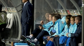 Dnipro Dnipropetrovsk's head coach Myron Markevych looks from the bench during their Europa League Group G soccer match against Rosenborg Trondheim in Trondheim
